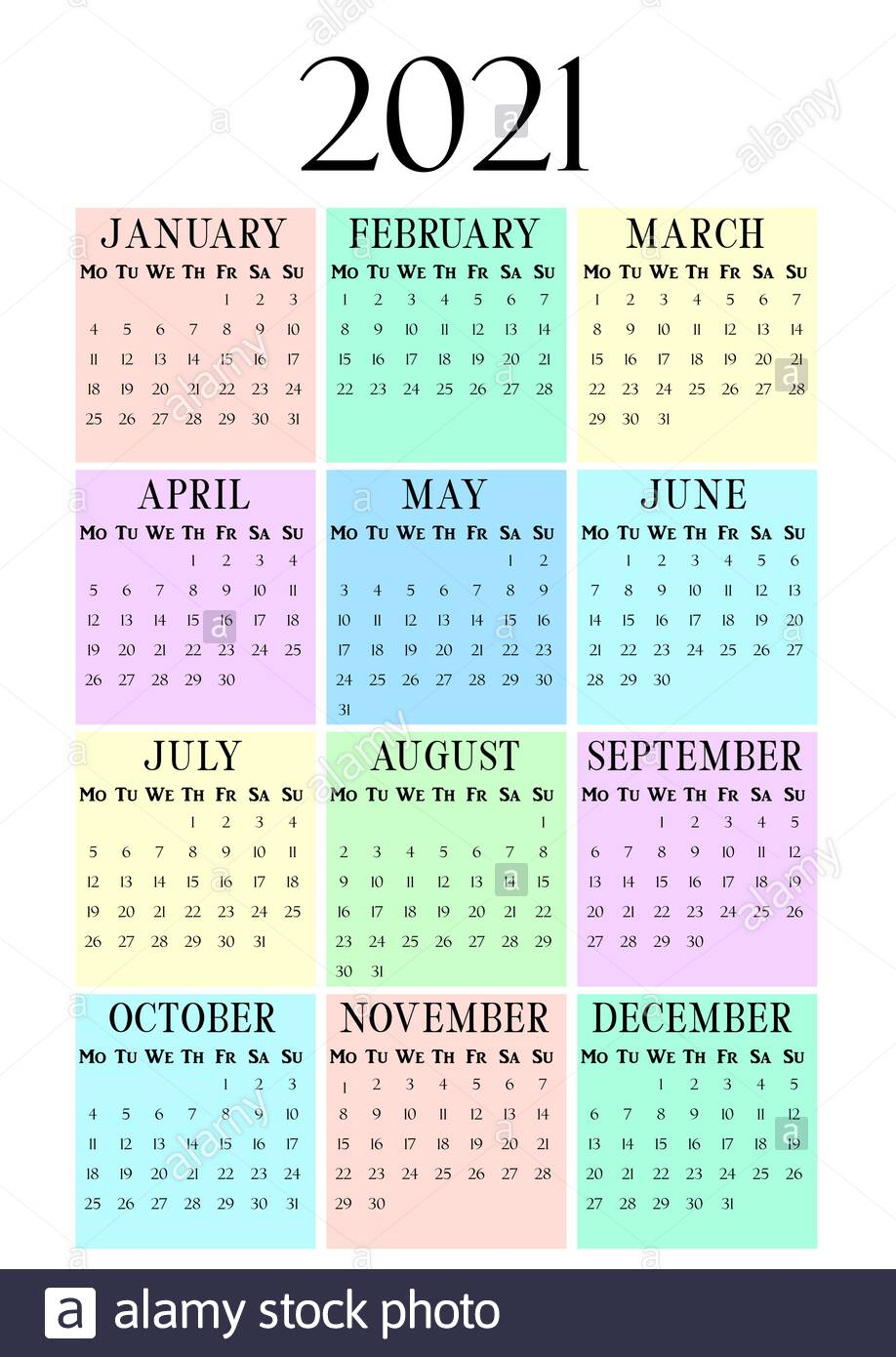 2021 Year Vertical Calendar On A4 Paper Format. Pastel Wall