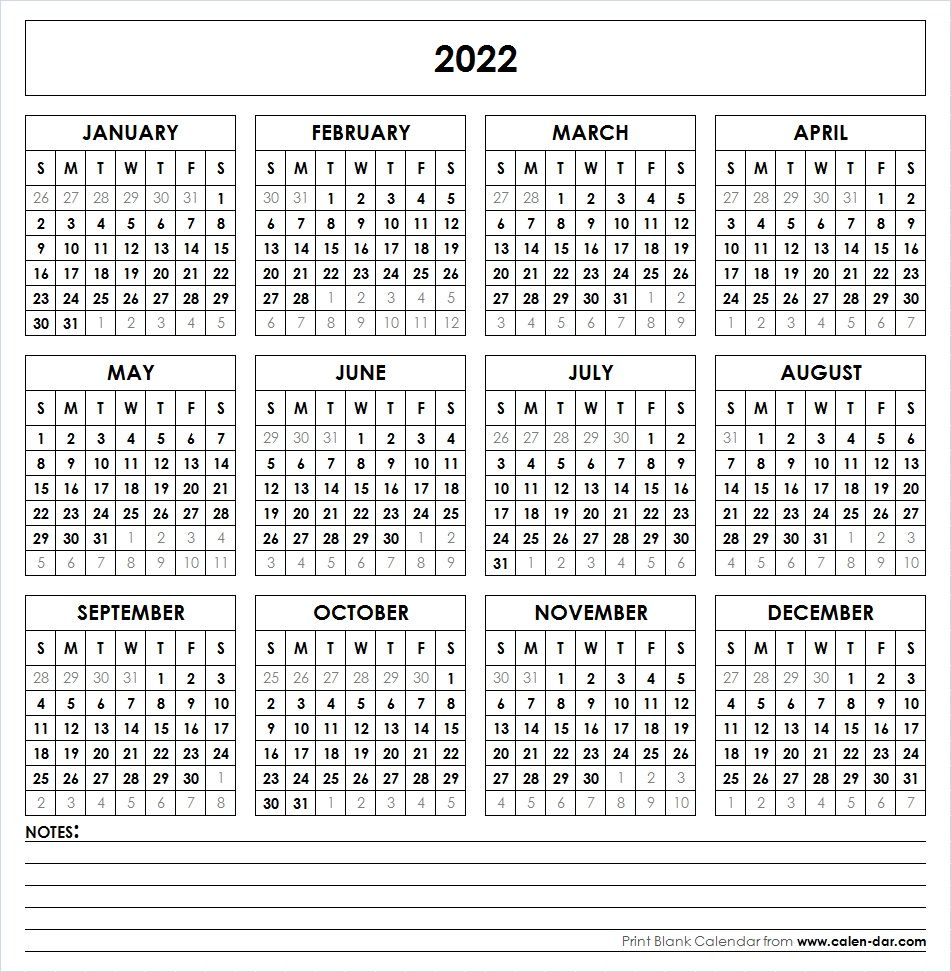 2022 Printable Calendar | Yearly Calendar Template