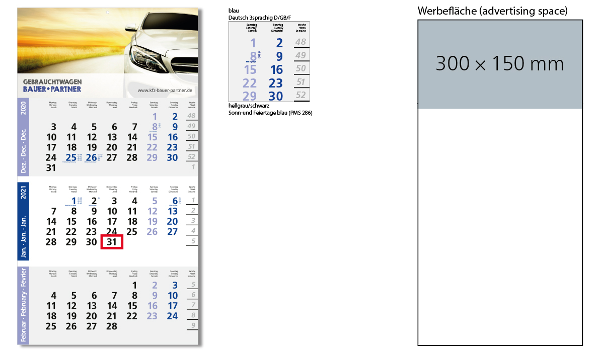 3-Month Calendar 2021 Logic 3 A | 3-Month Planner With Logo Printed |  Deprismedia