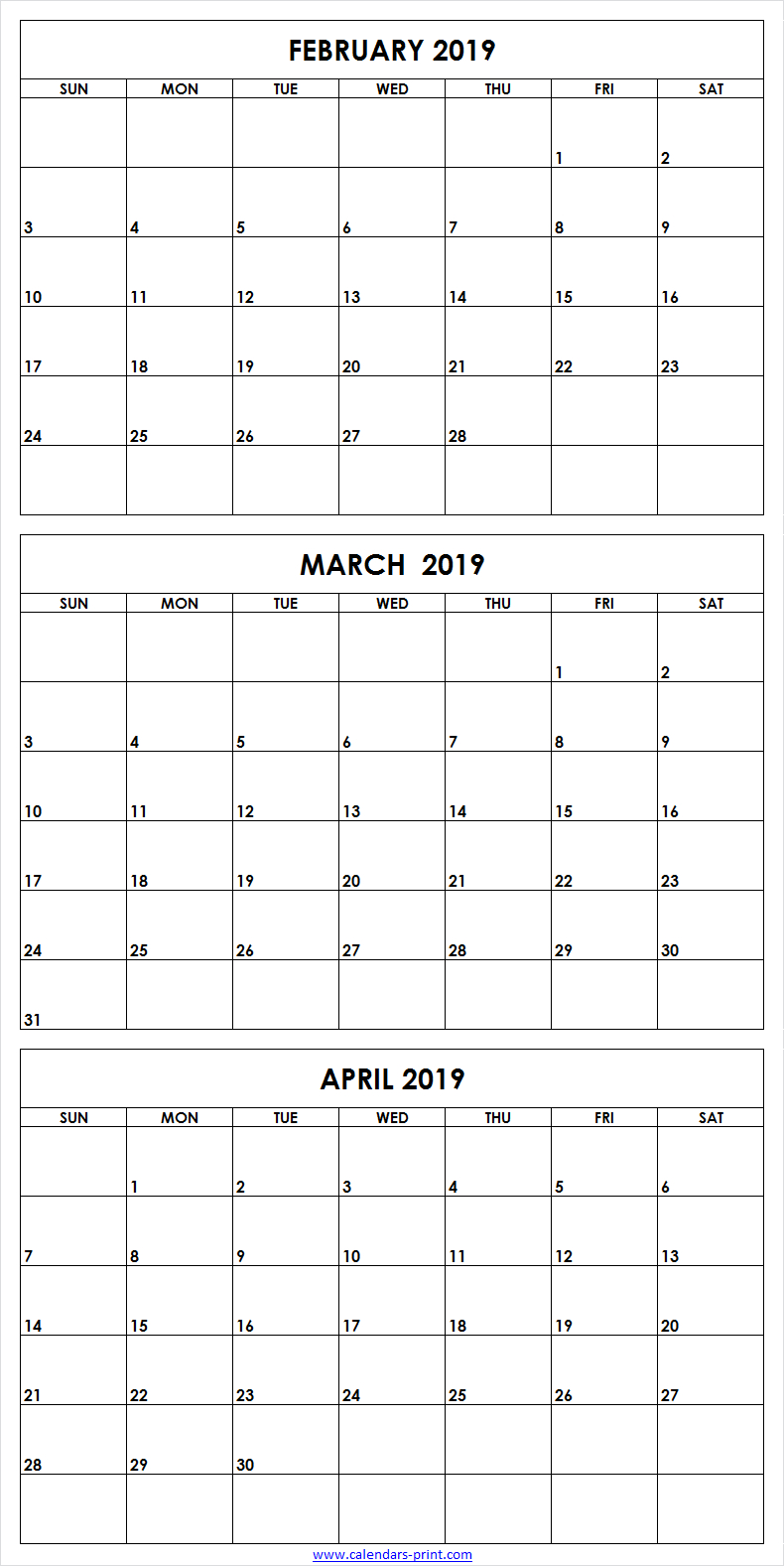3 Month February To April 2019 Calendar Template | 3 Month