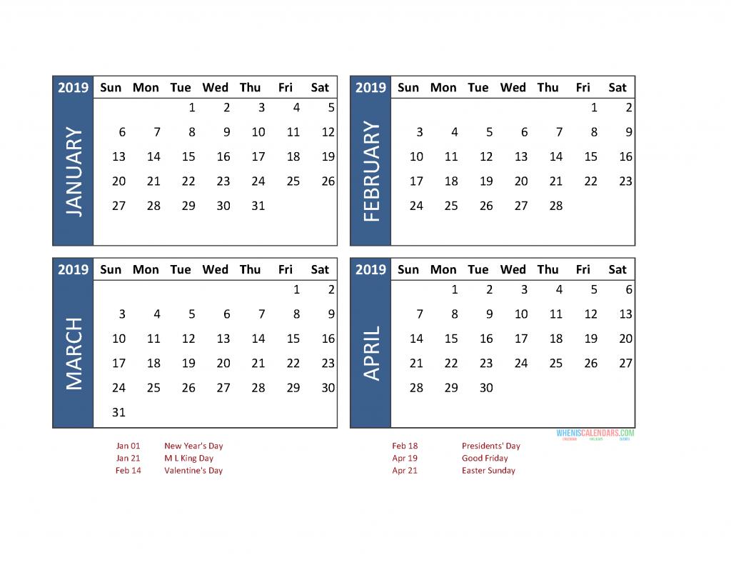 4 Month Calendar 2019 Printable [ January To December ]