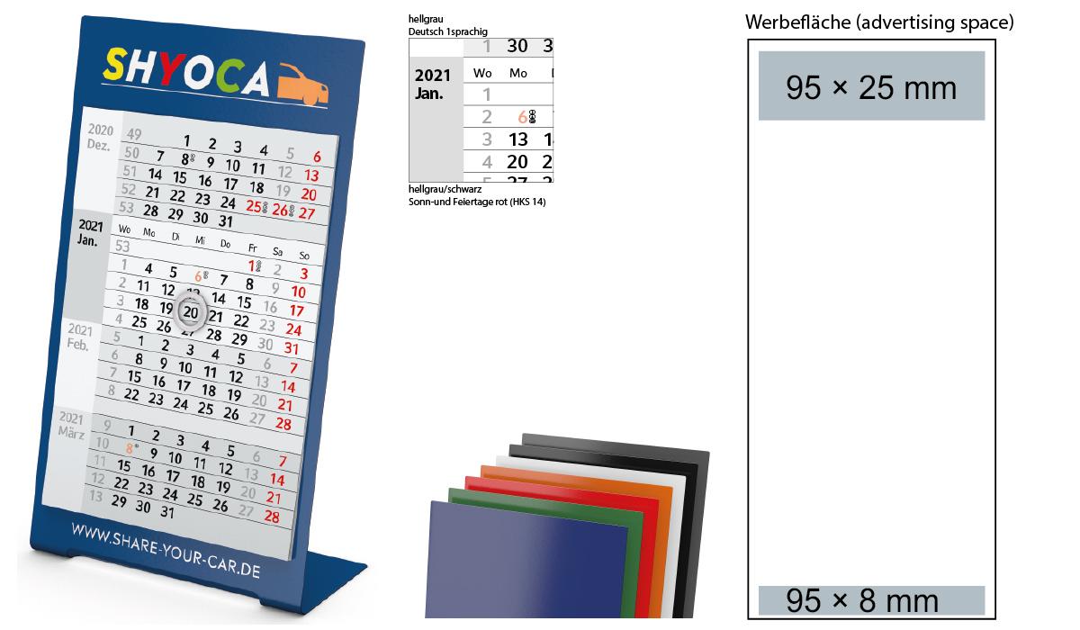 4-Month Calendar 2021 Desktop 4 Color 1-Year | 3-Month Planner With Logo  Printed | Deprismedia