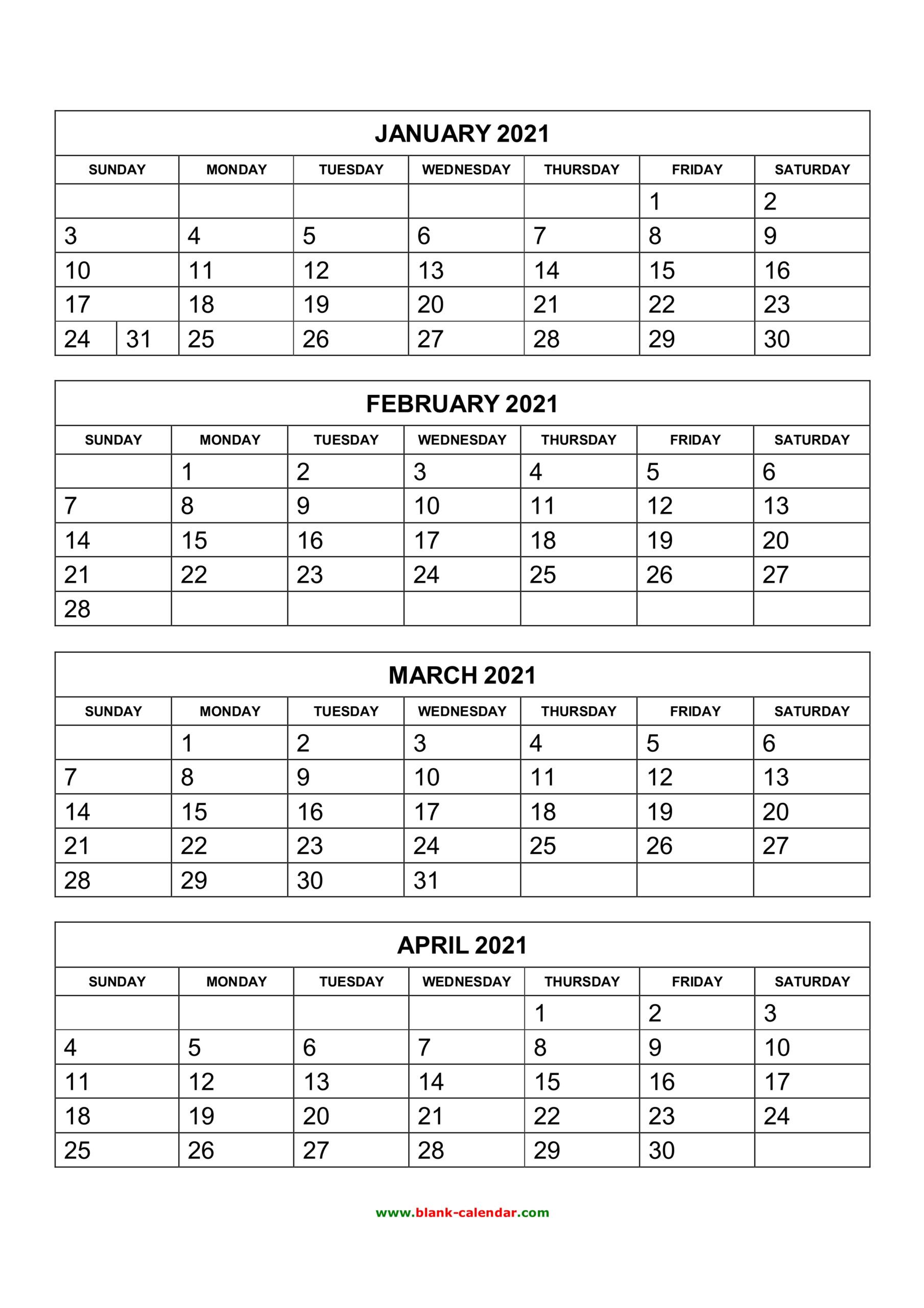 4 Month Printable Calendar 2021   Free 2021 Printable Calendars