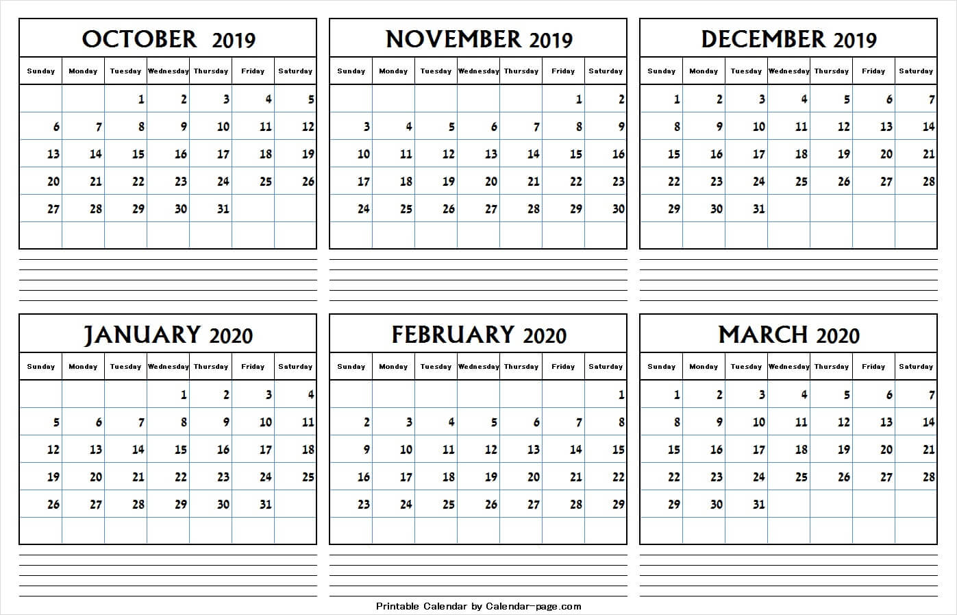 6 Month Calendar October 2019 And March 2020   Editable Png