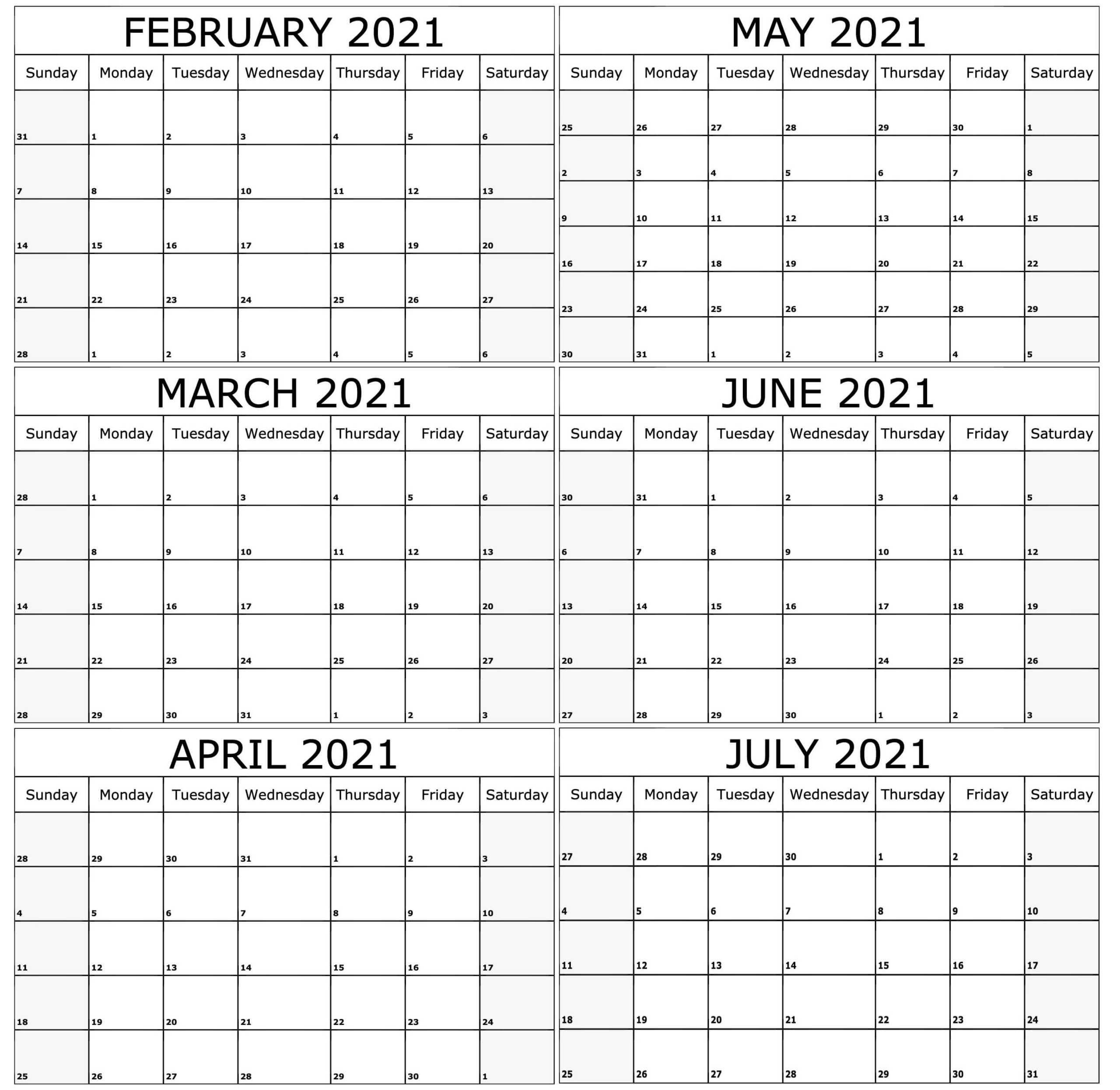 6 Month February To July 2021 Calendar Printable - Set Your