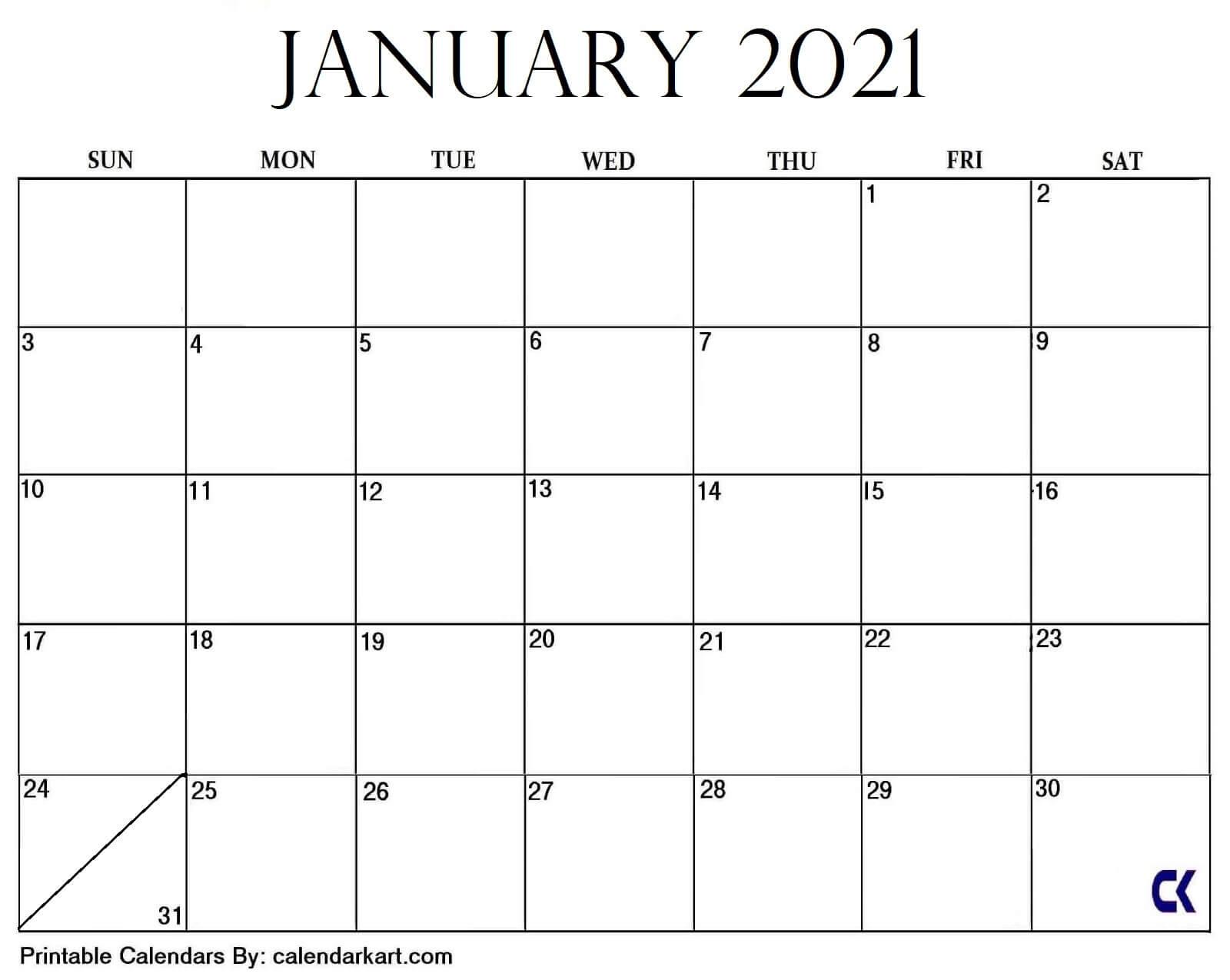 7+ Cute And Stylish Free Printable January 2021 Calendar