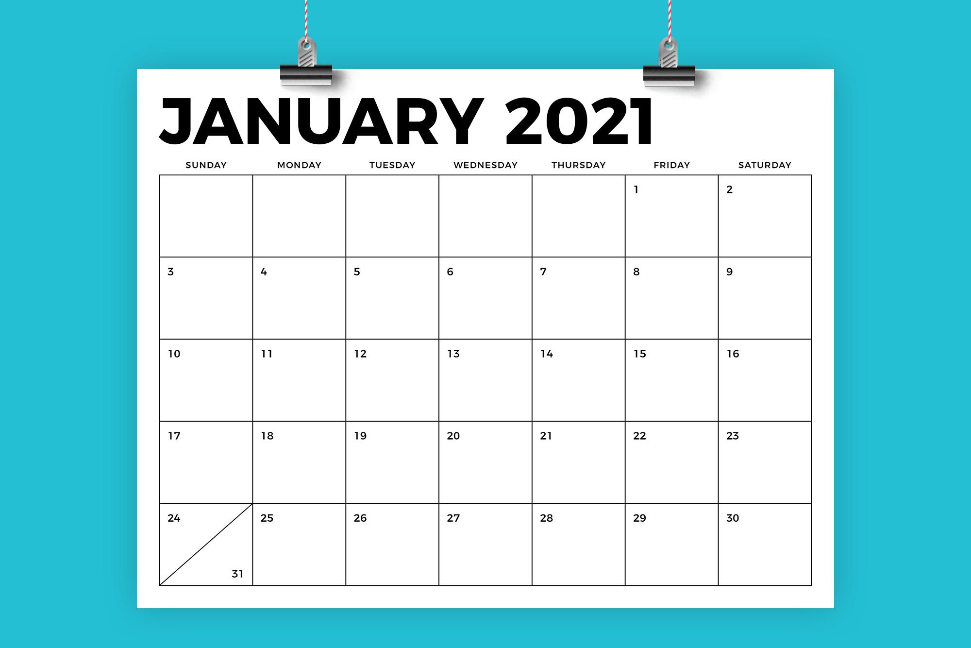 8.5 X 11 Bold 2021 Calendar