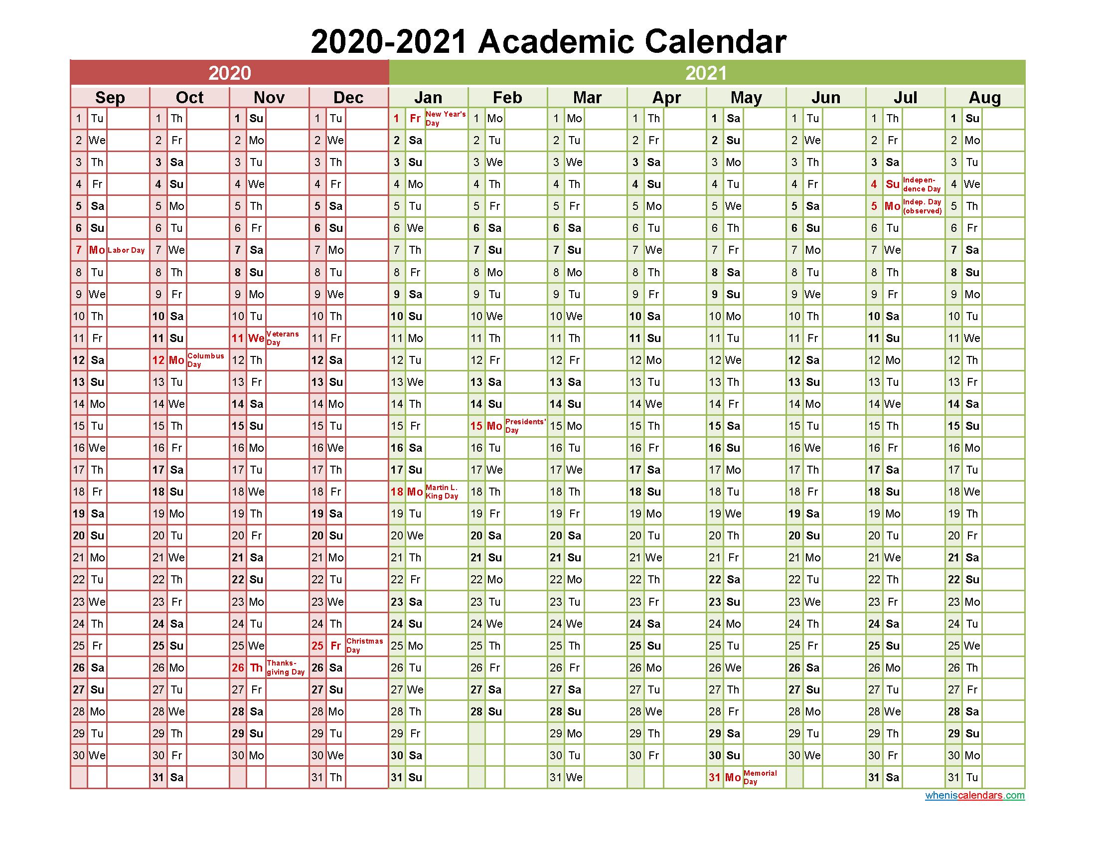 Academic Calendar 2020 And 2021 Printable (Landscape
