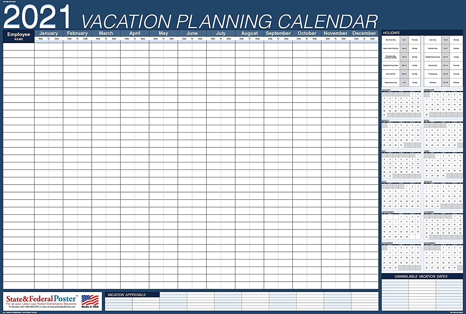 Annual Vacation Planner Template Simple Leave Spreadsheet