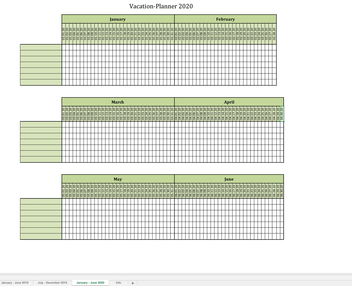 Annual Vacation Travel Spreadsheet Planner Templates Example