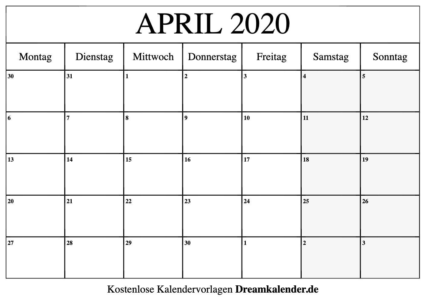April 2020 Kalender Zum Ausdrucken - Dream Kalender