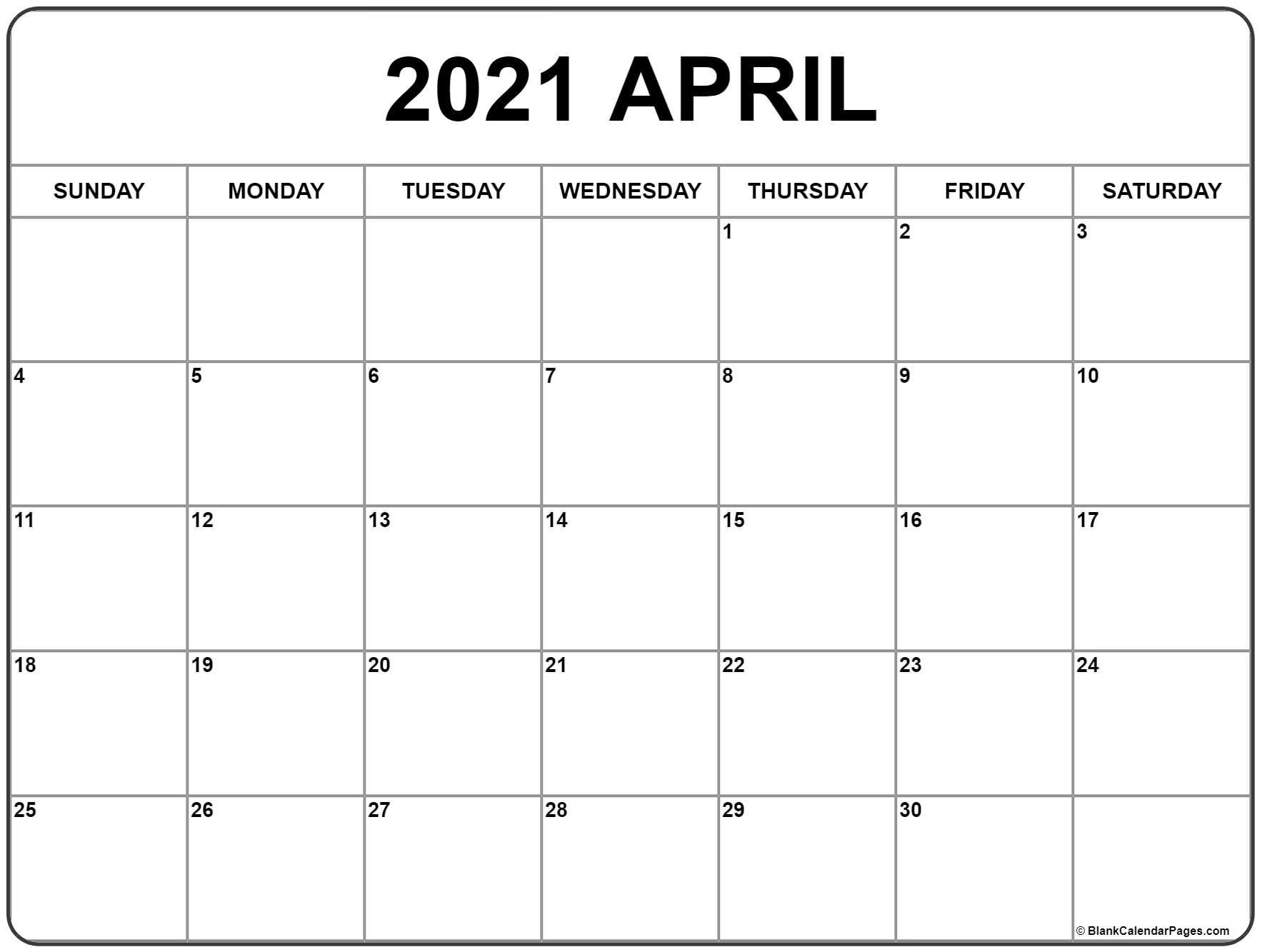 April 2021 Calendar | Free Printable Monthly Calendars