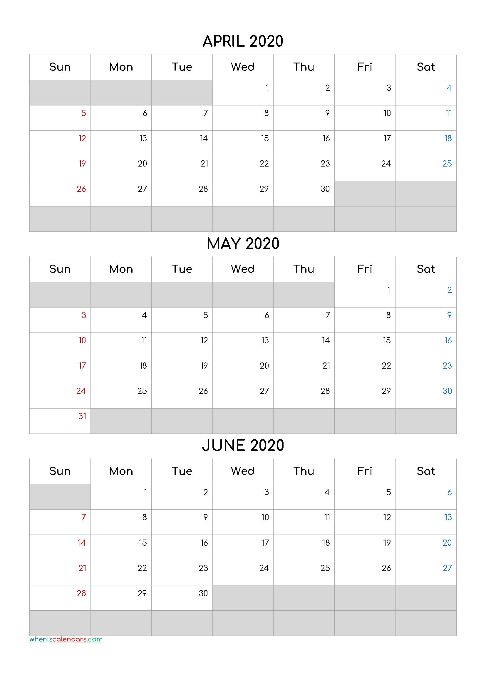 April May June 2021 Free Printable 3 Month Calendar-21Cf5