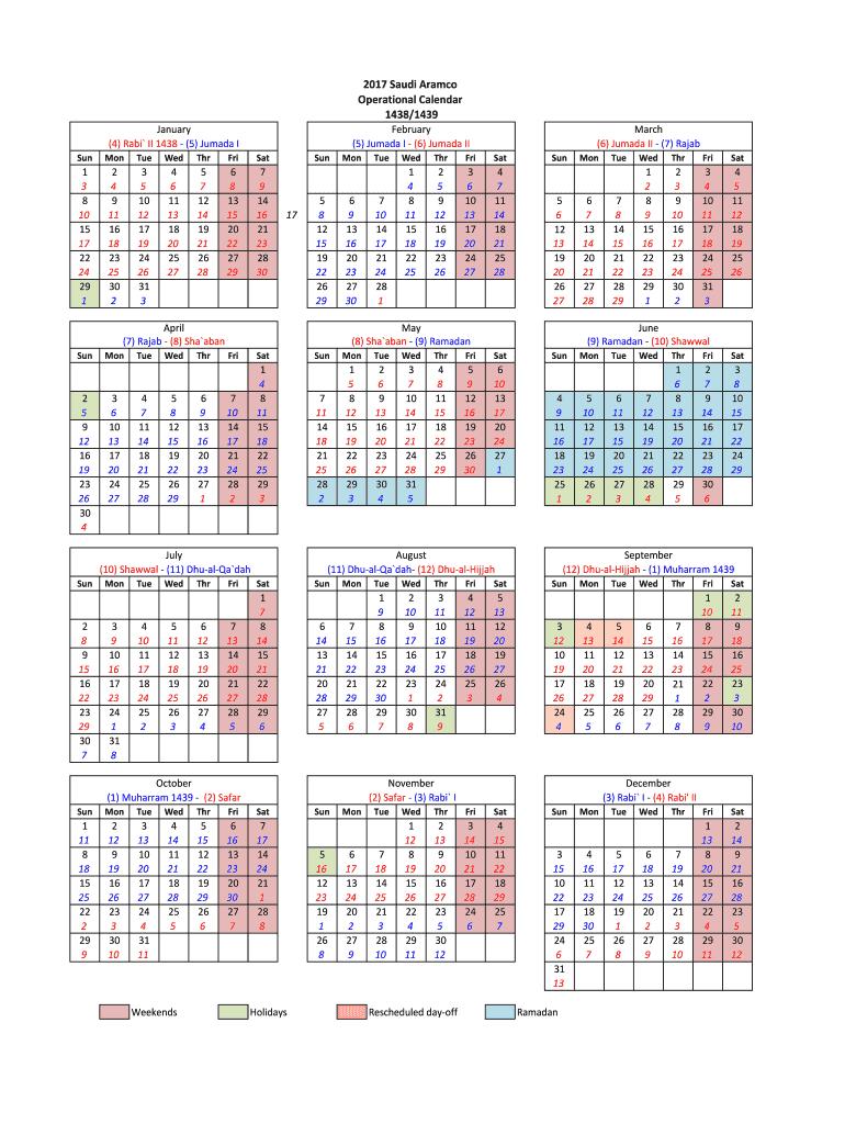 Aramco Calendar 2020 - Fill Online, Printable, Fillable