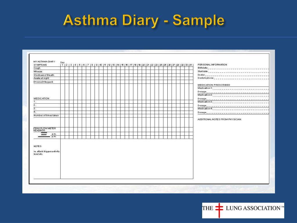 Asthma Diary - Asthma Lung Disease