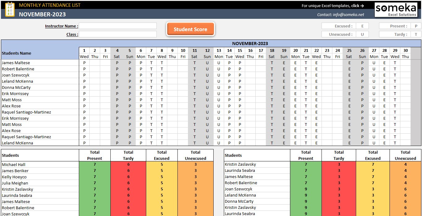Attendance Sheet Template In Excel - Free Download