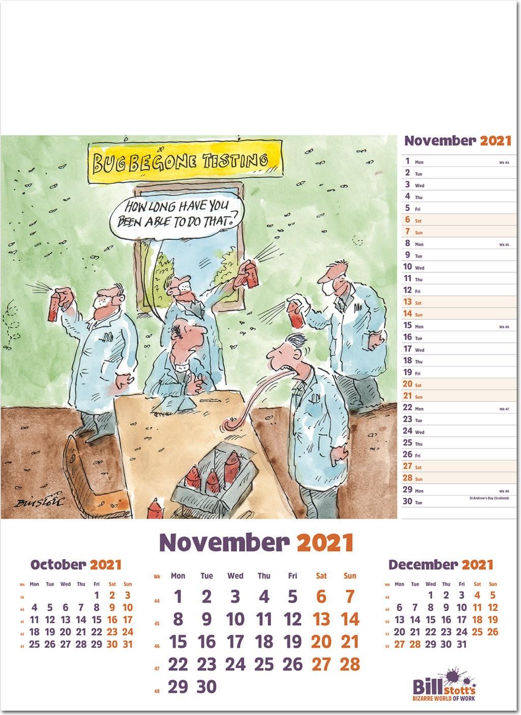 Bill Stott'S Bizarre World Of Work Wall Calendar 2021 - Rose