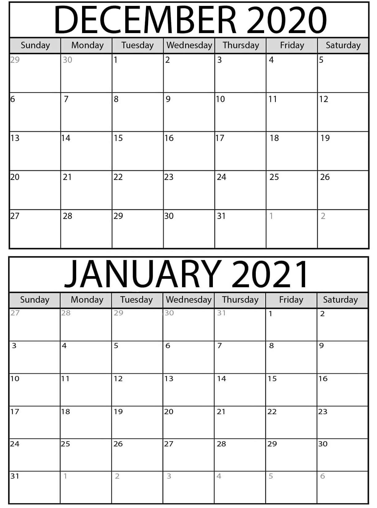 Blank 2020 December 2021 January Calendar With Holidays