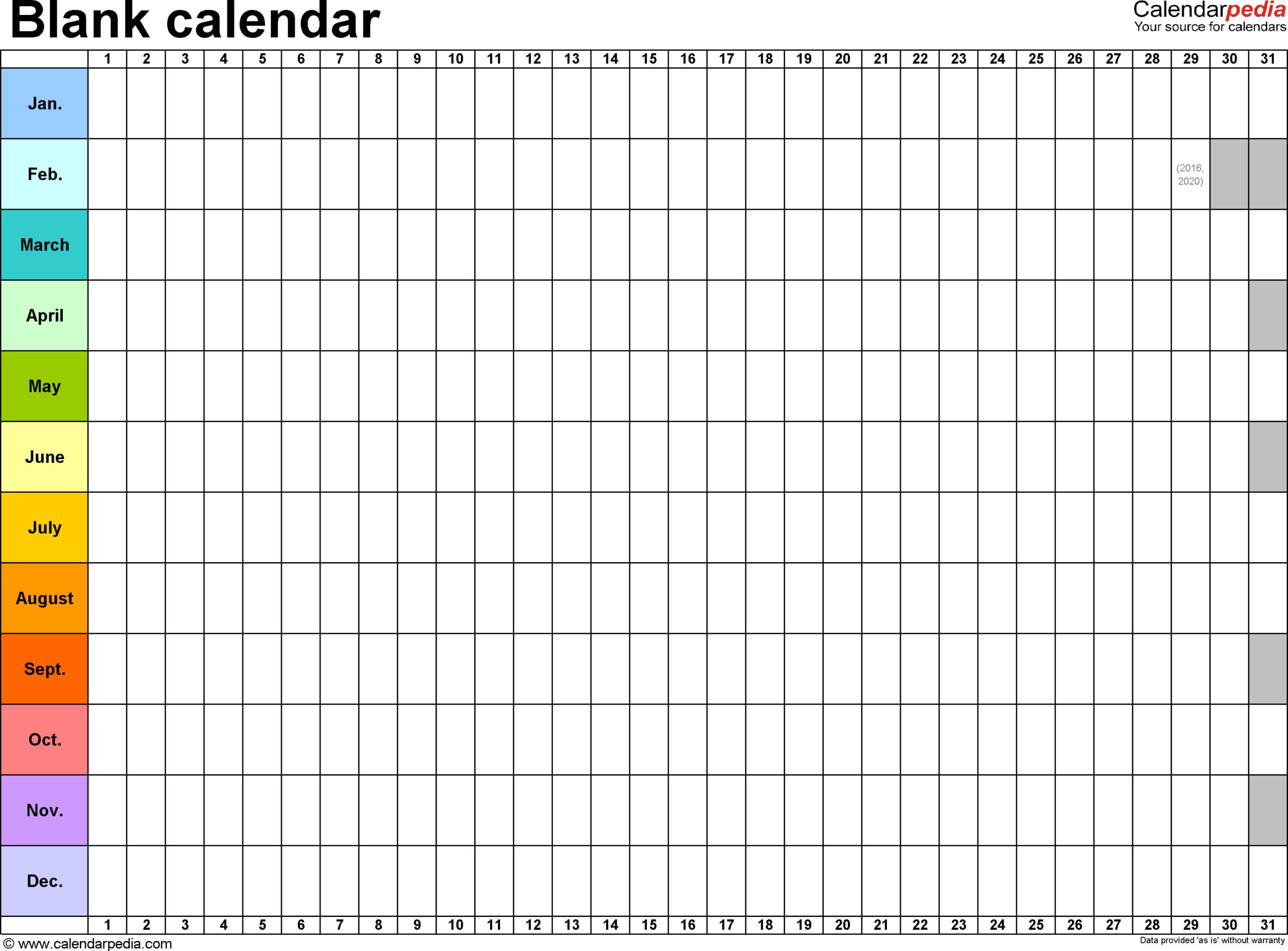 Blank Calendar - 9 Free Printable Microsoft Excel Templates