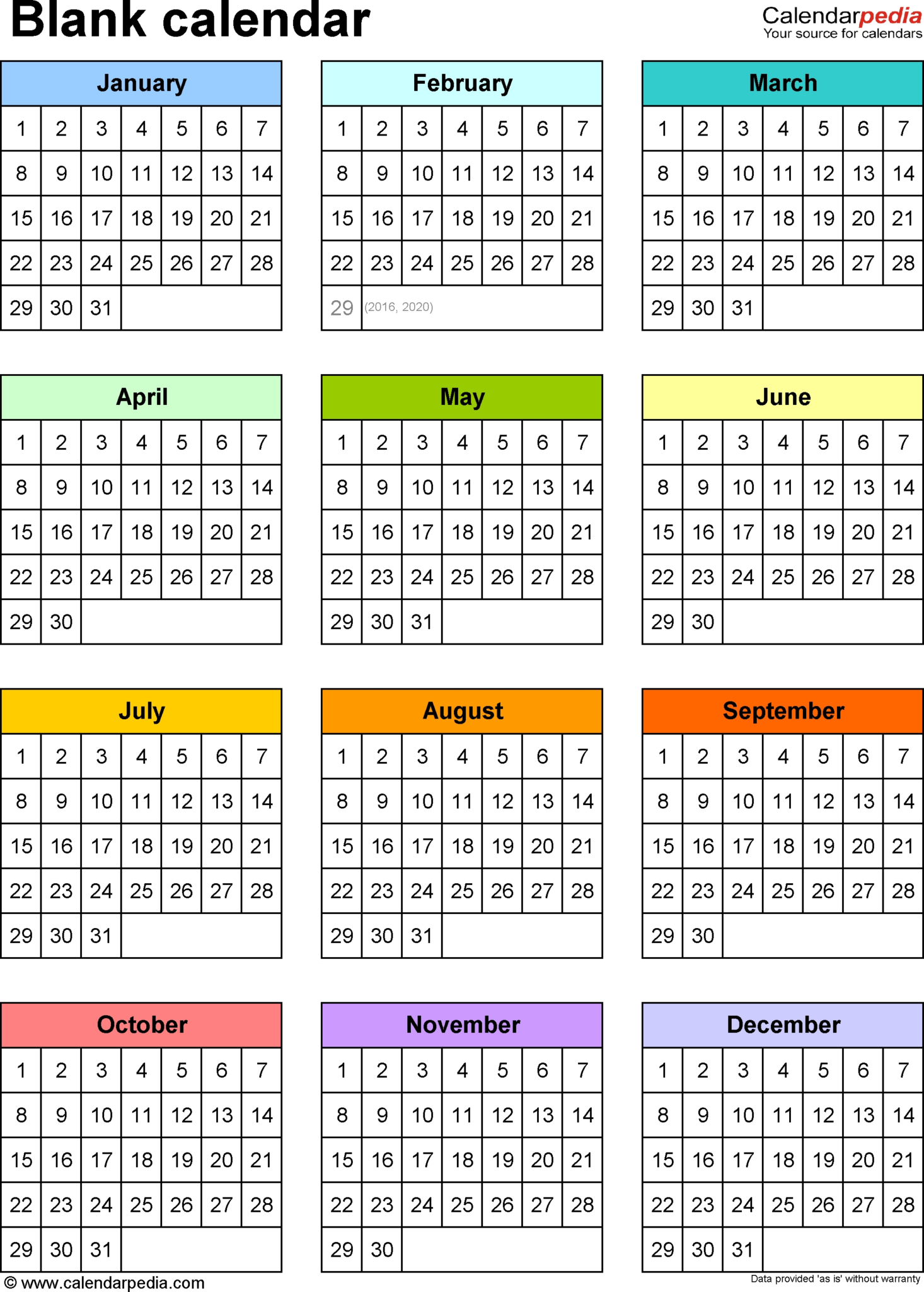 Blank Calendars – Free Printable Microsoft Word Templates