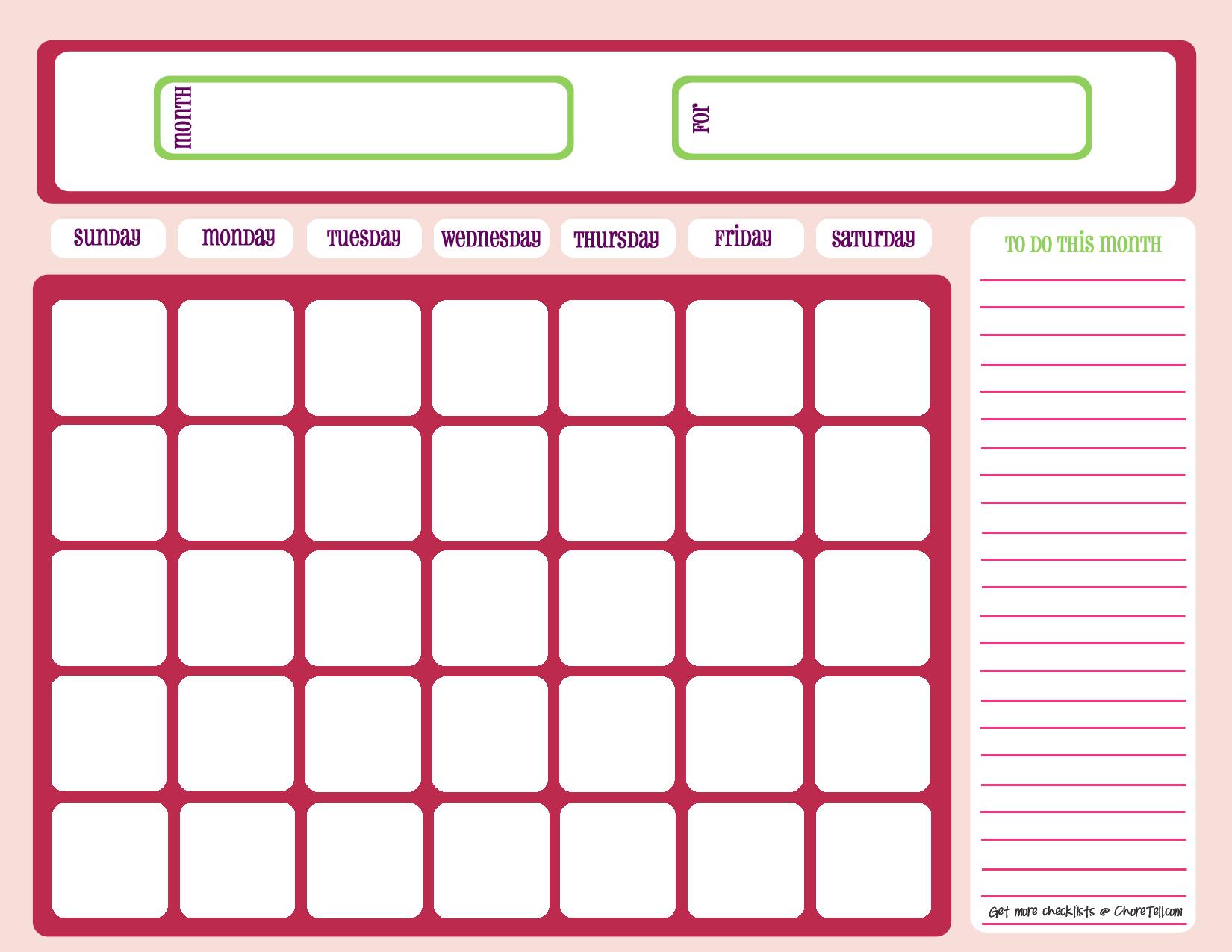 Blank Month Calendar – Pinks | Printable Blank Calendar