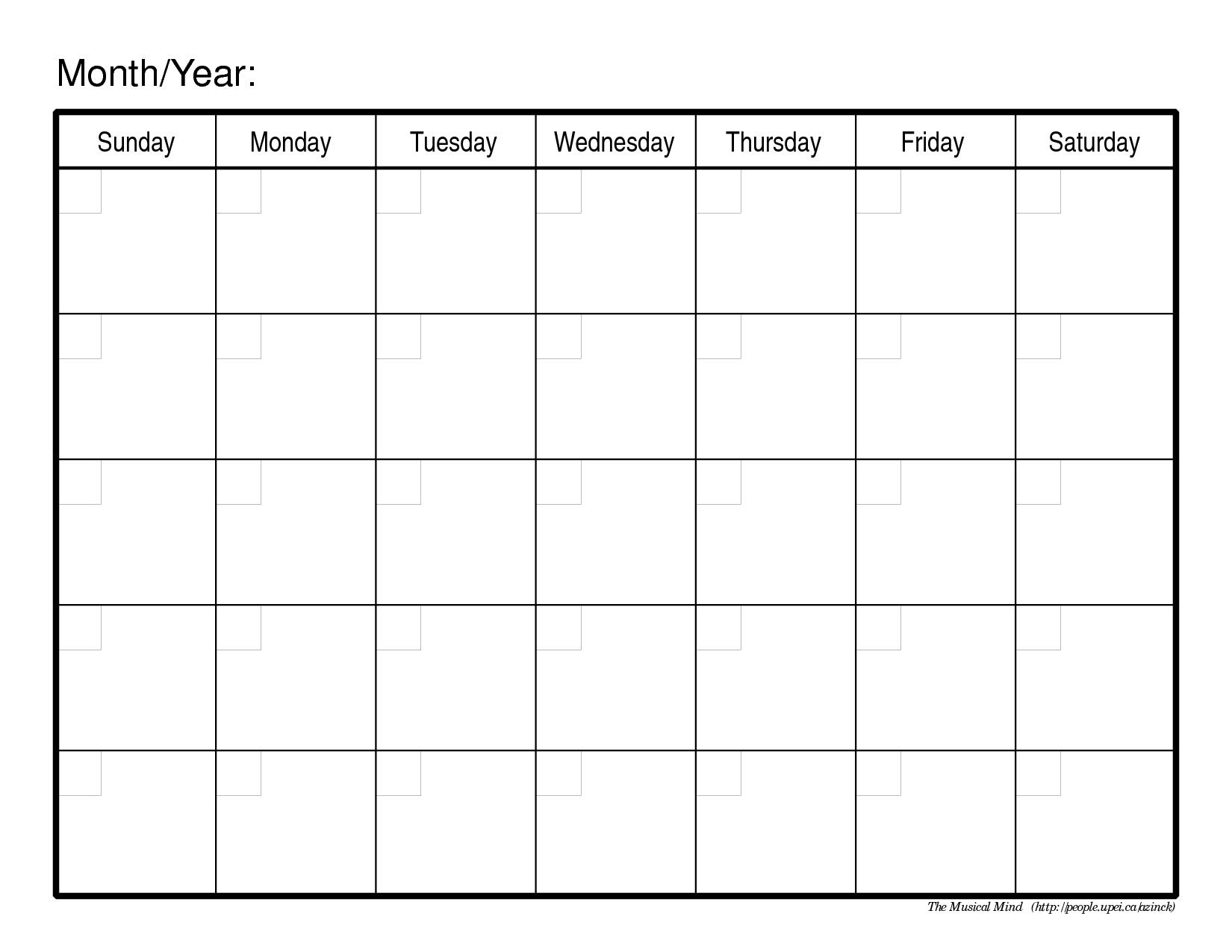 Blank Monthly Calendar Template – Printable Week Calendar