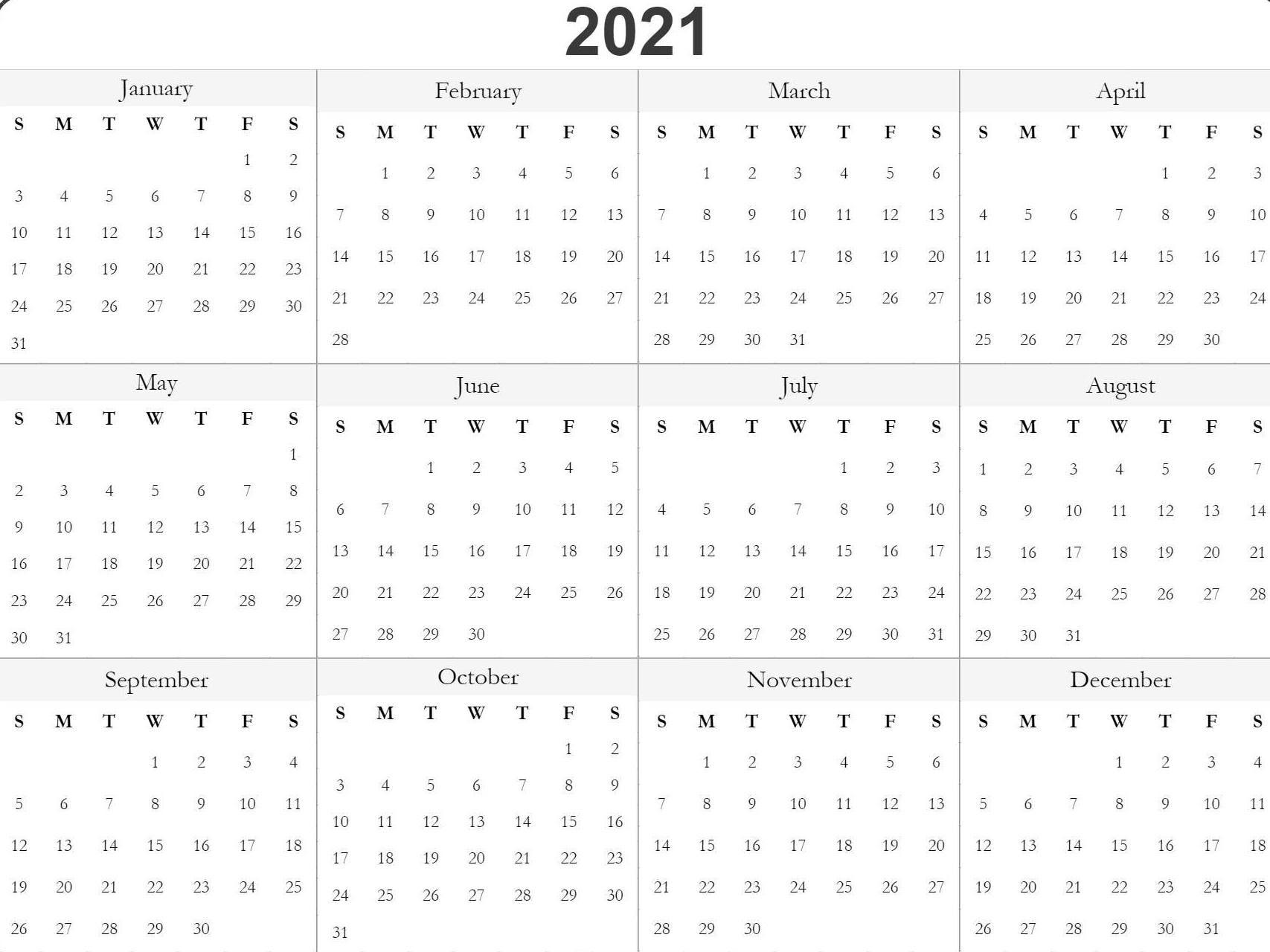 Blank Printable 2021 Calendar Template   Print Calendar