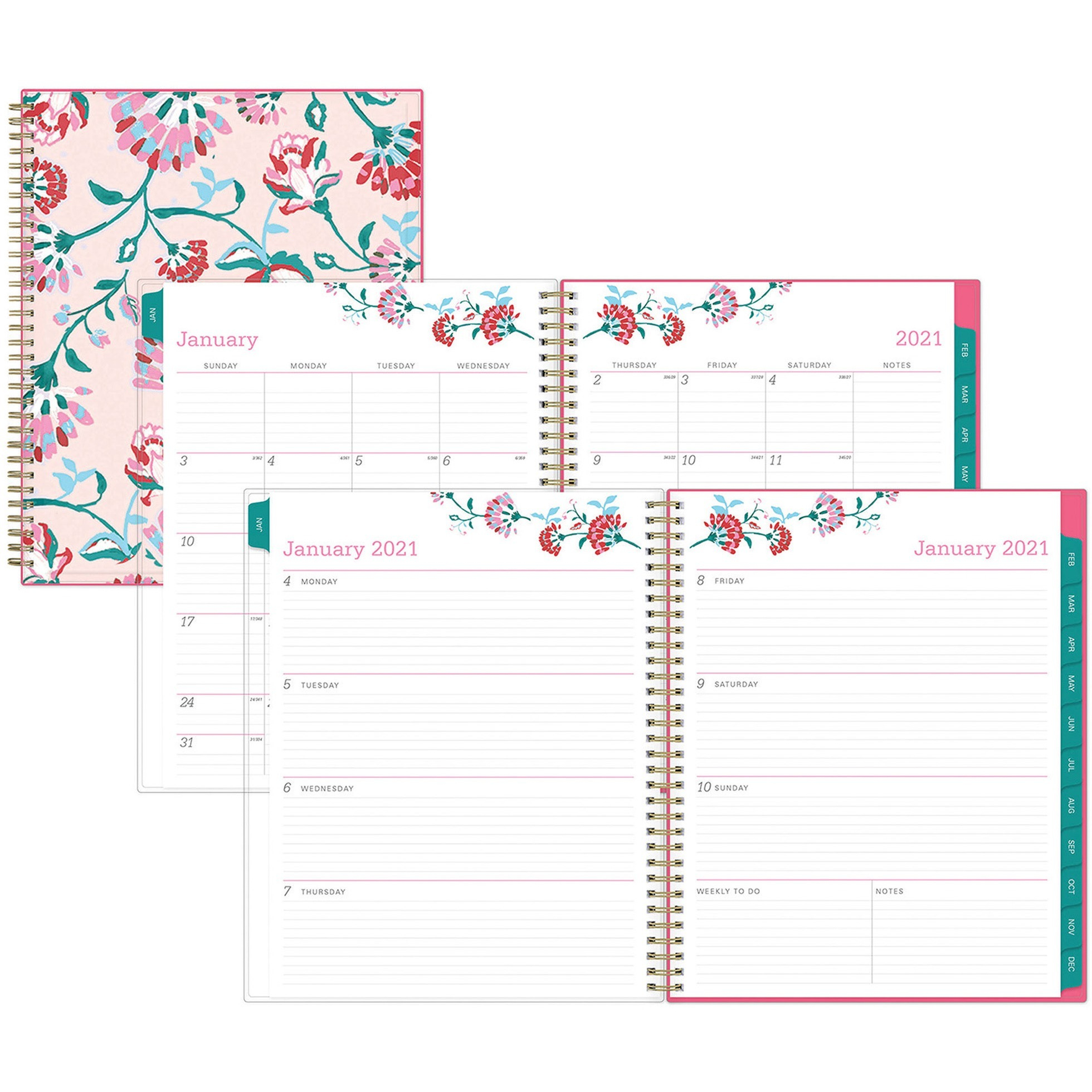 Blue Sky Bca Alexandra Large Weekly/Monthly Planner - Julian Dates -  Weekly, Monthly - 1 Year - January 2021 Till December 2021 - 1 Week Double  Page