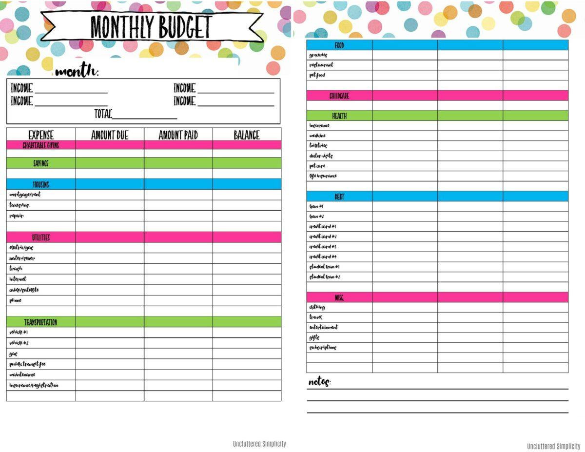 Budget Organizer Printable Kozen Jasonkellyphoto Co T