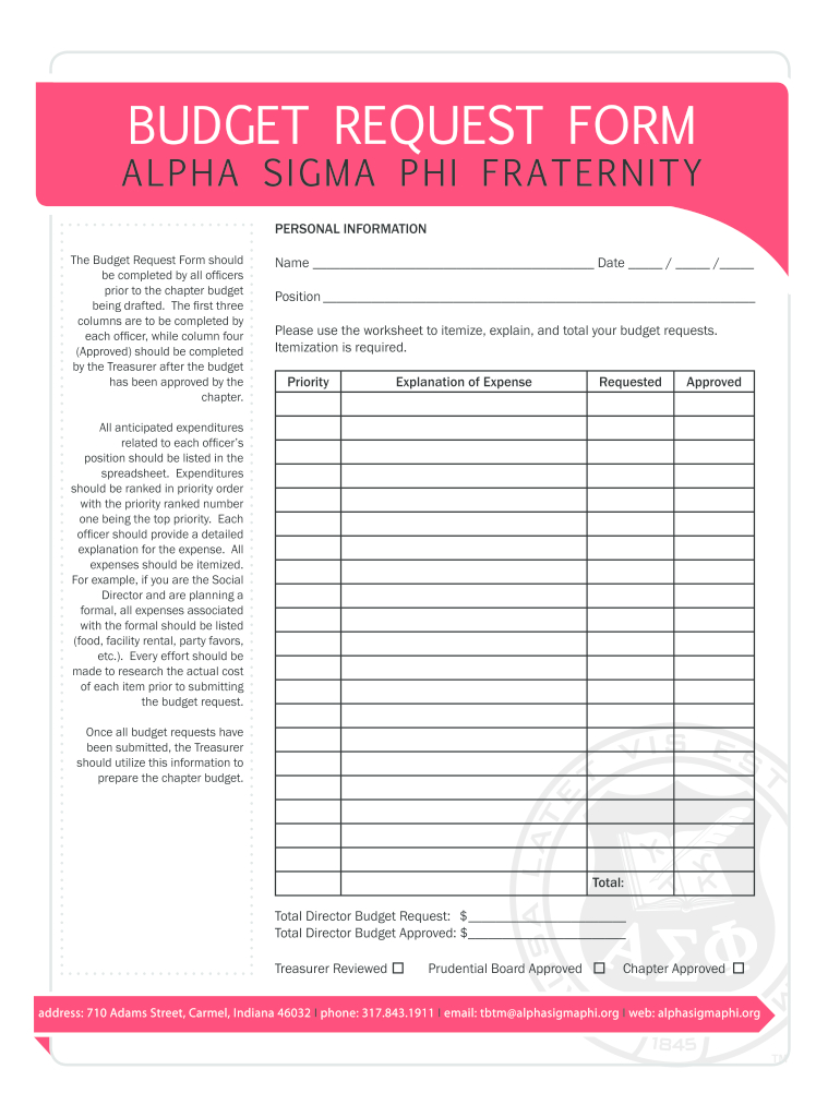 Budget Request Form - Fill Out And Sign Printable Pdf Template | Signnow