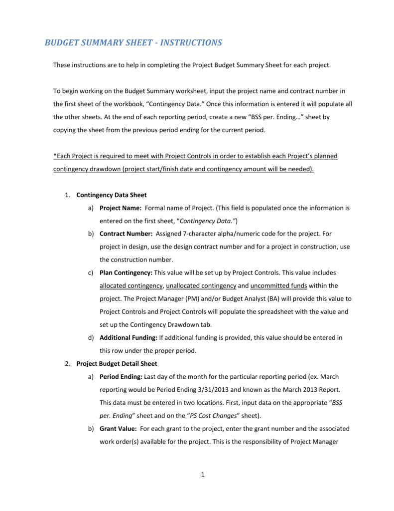 Budget Summary Sheet Instructions Rev 4 10-23-2013