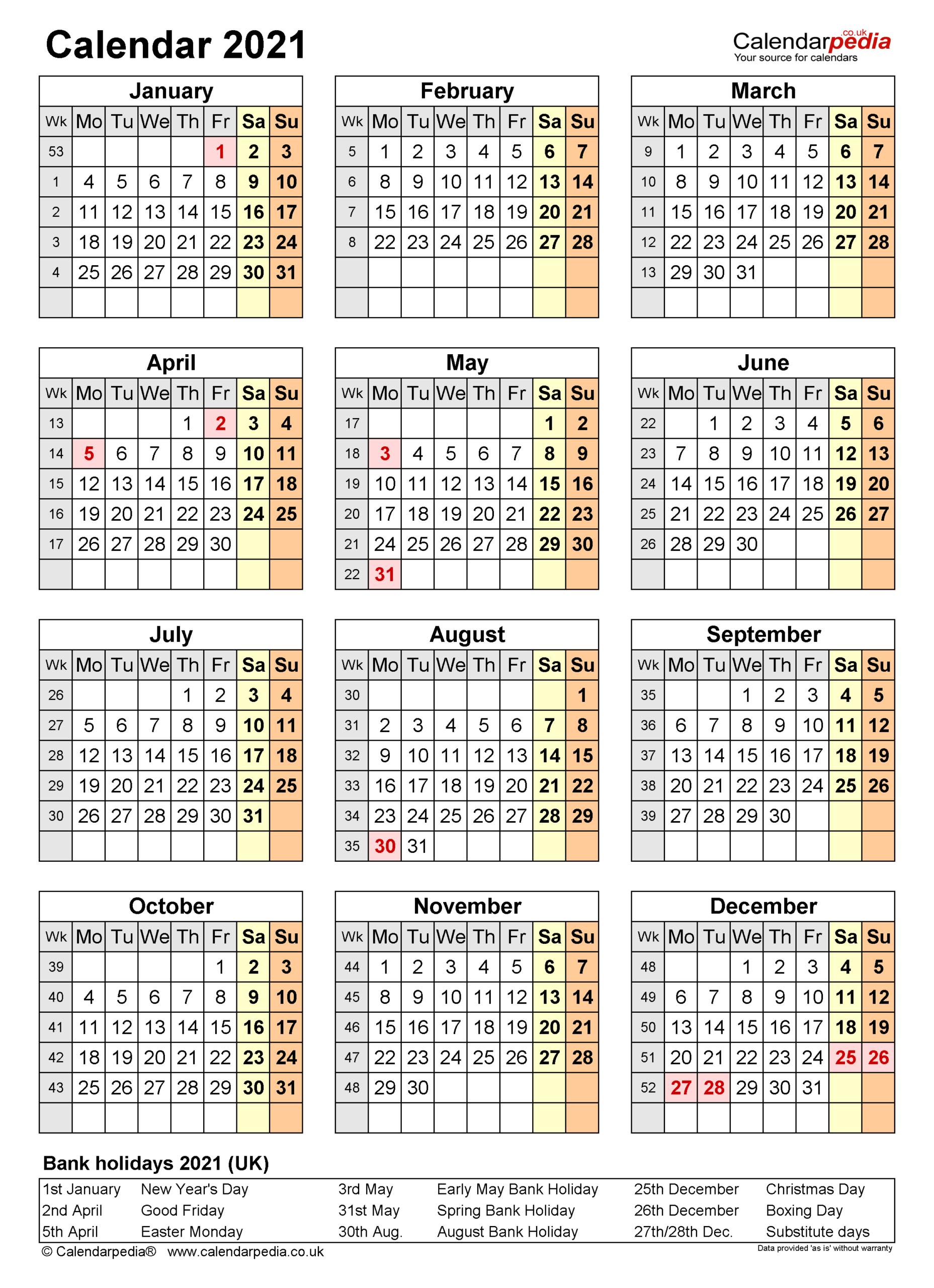 Calendar 2021 (Uk) - Free Printable Microsoft Word Templates