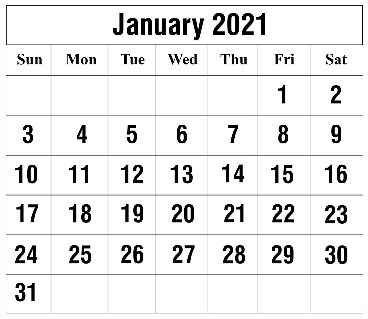 Calendar For January 2021 Project | Monthly Calendar
