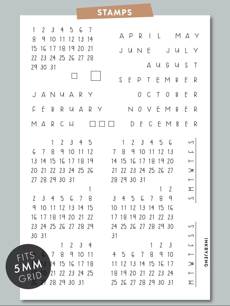 Calendar Handwritten - 4X6 | Clear Stamps, Daily Calendar