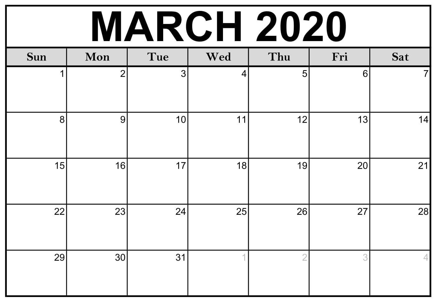 Calendar March 2020 Free Printable | Calendar Printables