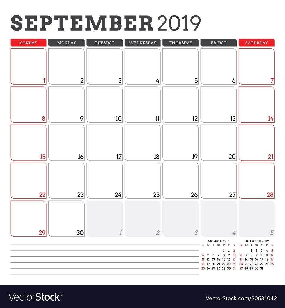 Calendar Planner For September 2019 Week Starts Vector Image