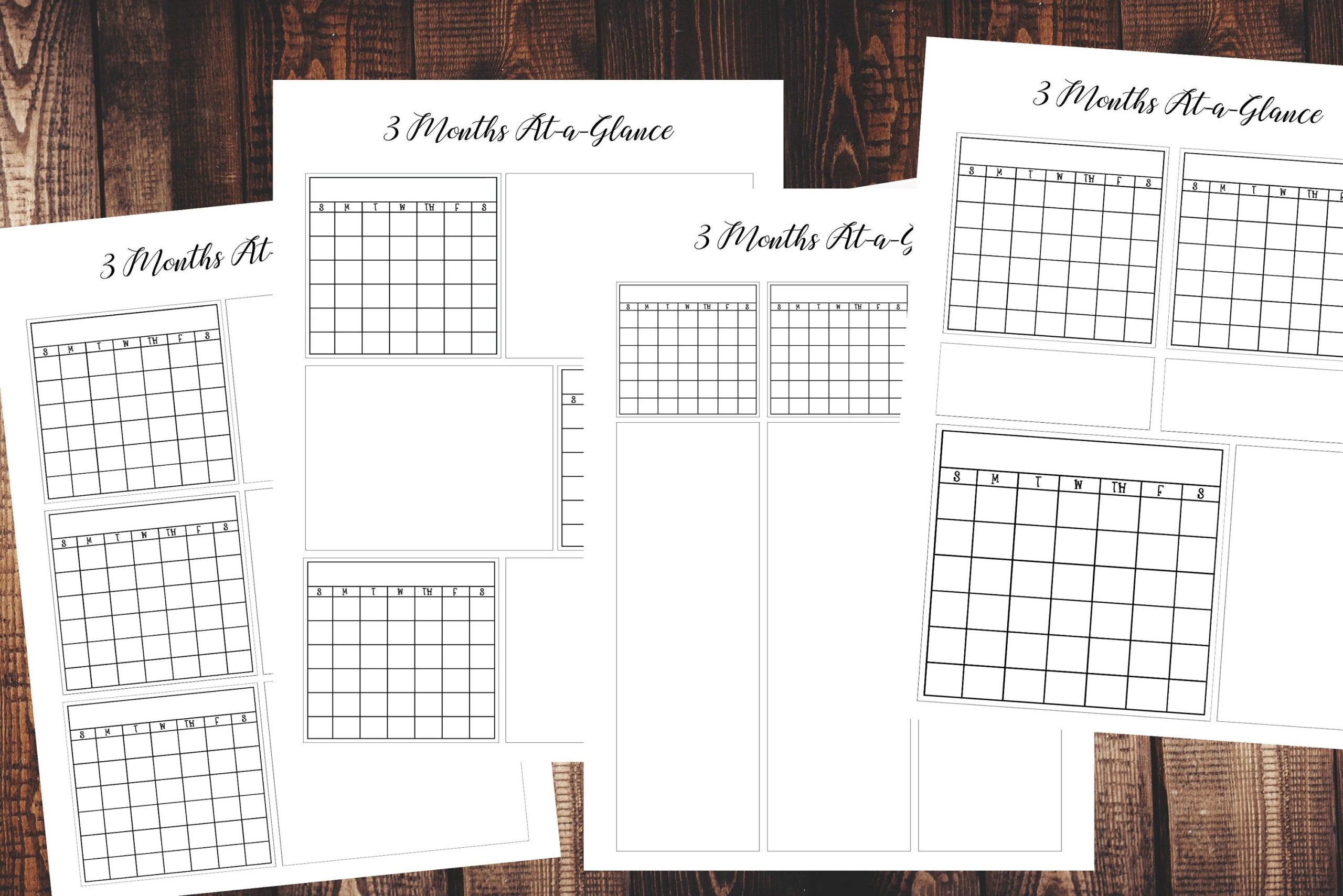 Calendar Printables Three 3 Month At-A-Glance Printable