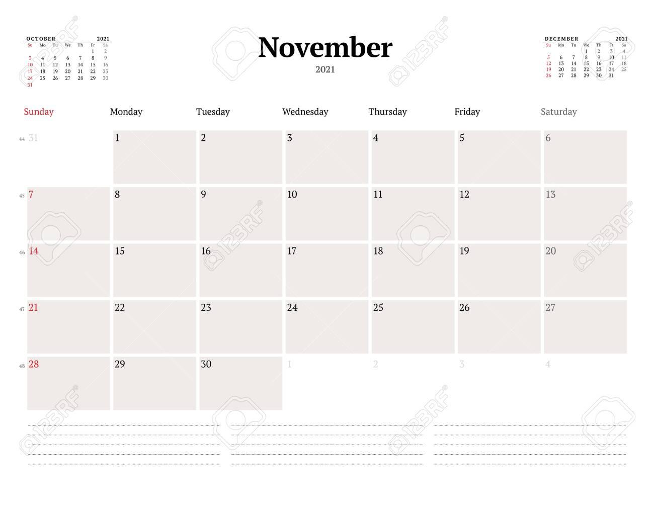 Calendar Template For November 2021. Business Monthly Planner. Stationery  Design. Week Starts On Sunday. Vector Illustration