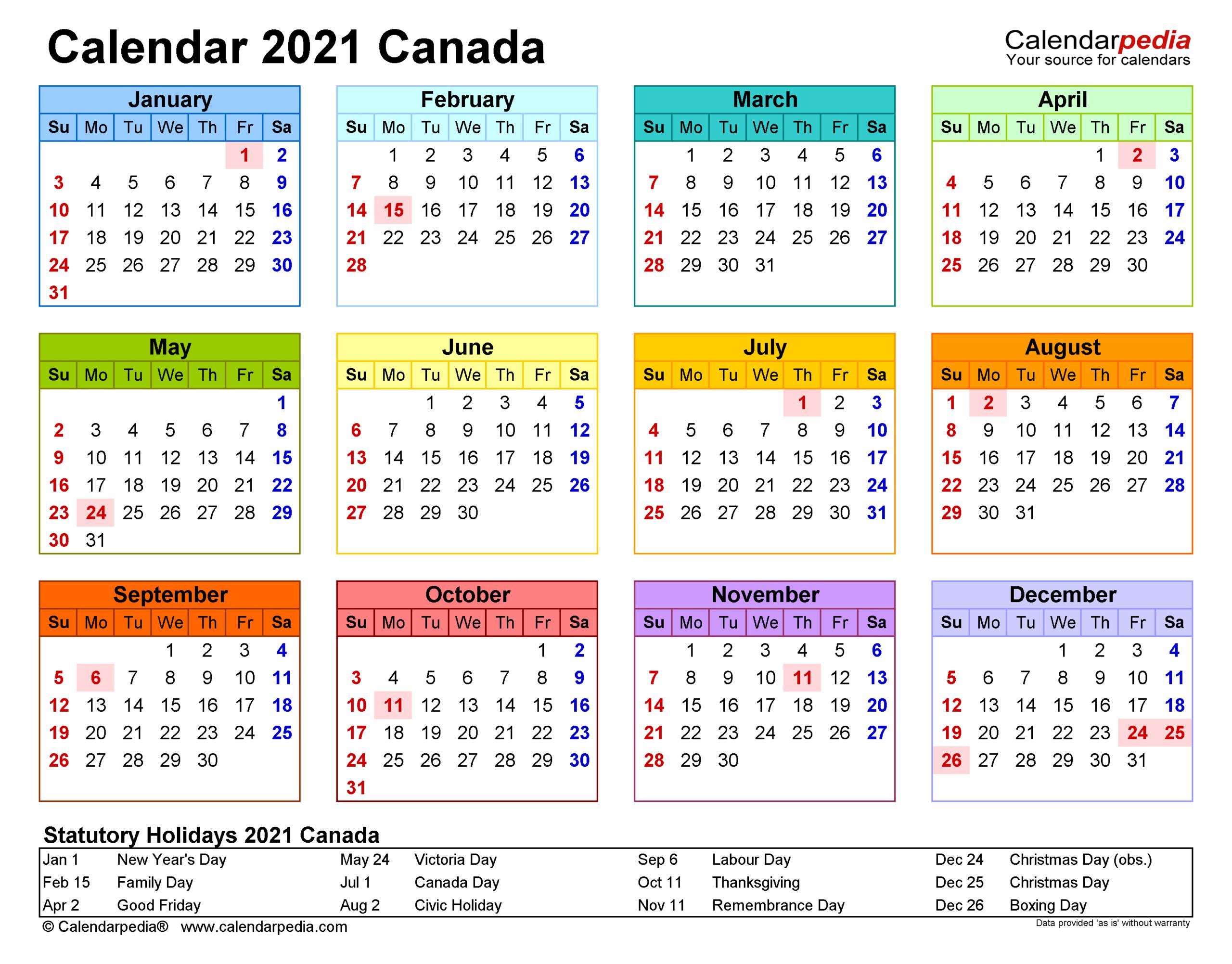 Canada Calendar 2021 - Free Printable Word Templates