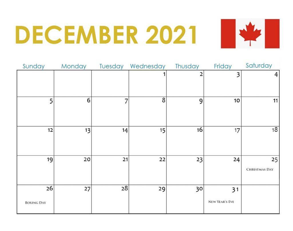 Canada December 2021 Holidays Calendar | Holiday Calendar