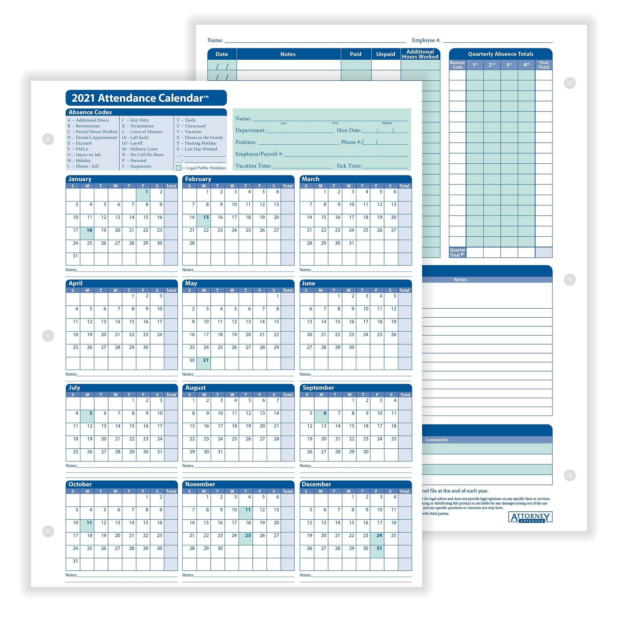 "Complyright 2021 Attendance Calendar, White, 8-1/2"" X 11"" - 50 Per Pack"