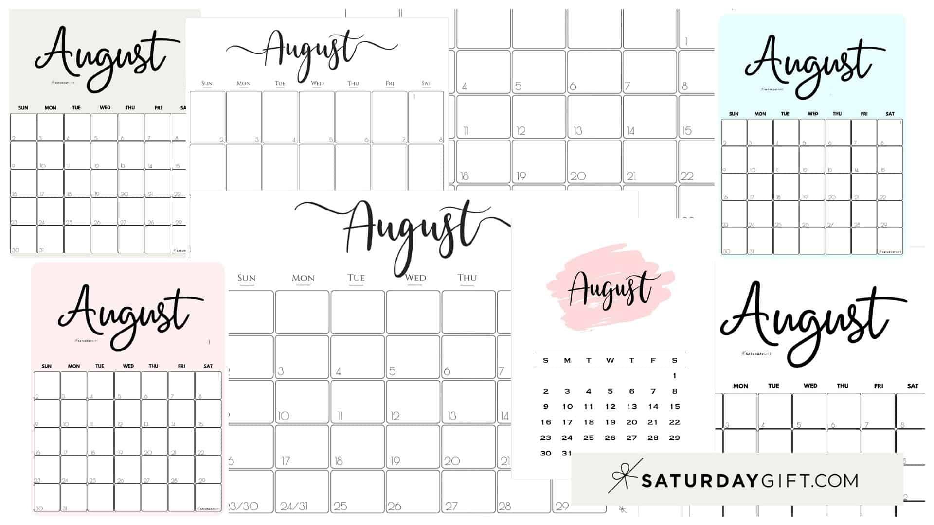Cute (& Free!) Printable August 2021 Calendar   Saturdaygift