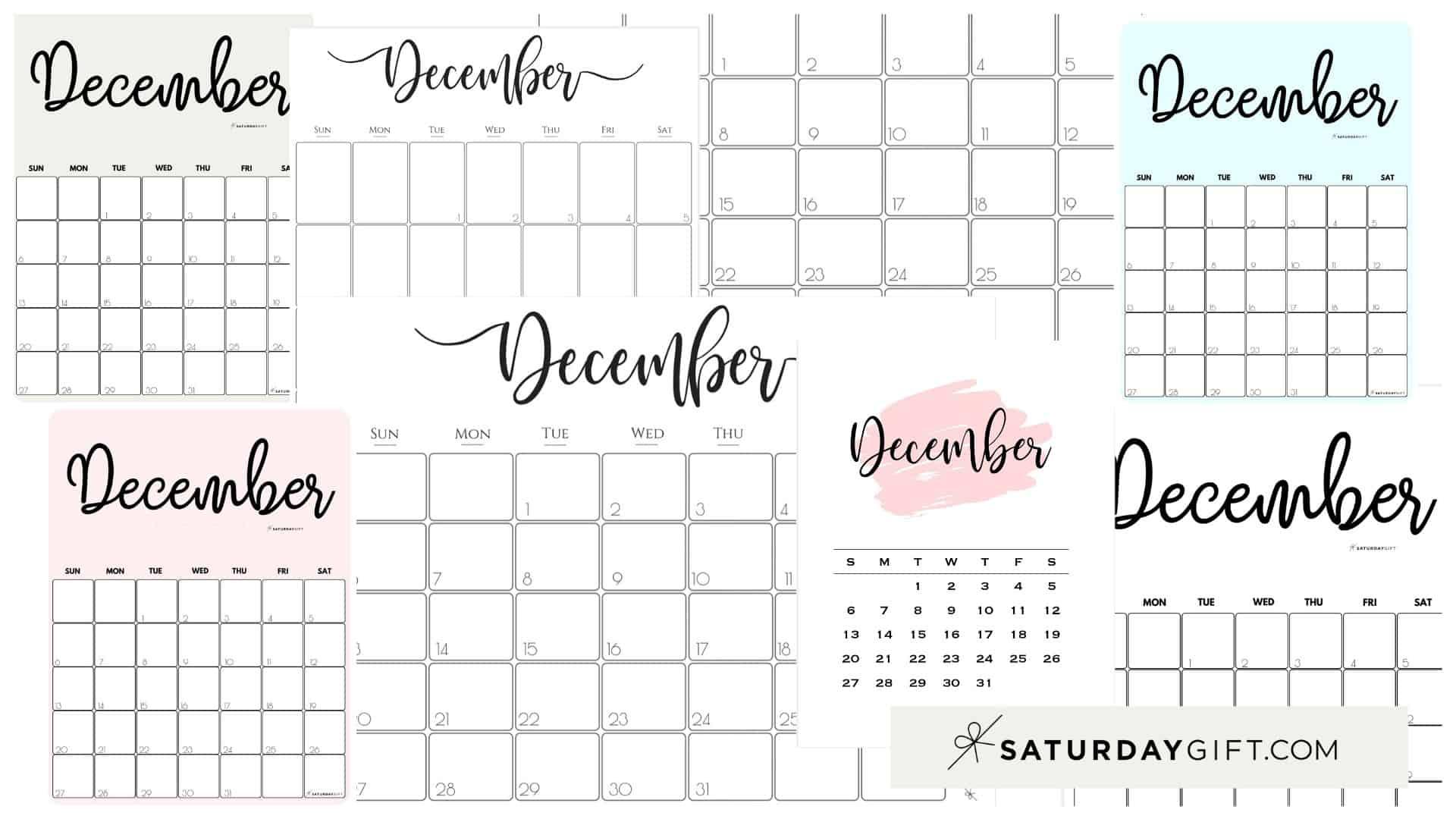 Cute (& Free!) Printable December 2021 Calendar | Saturdaygift
