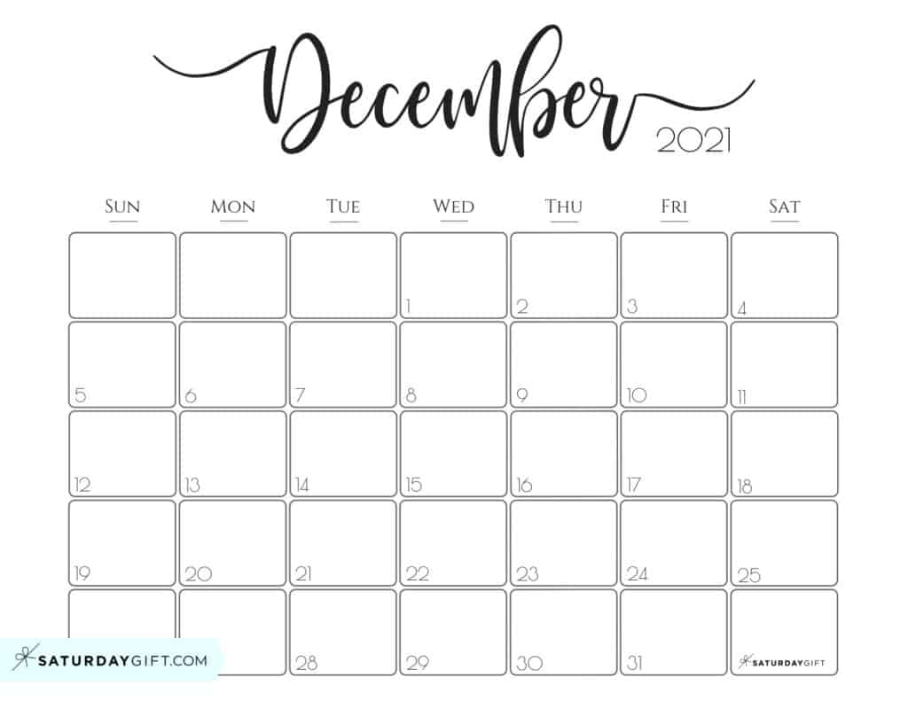 Cute (& Free!) Printable December 2021 Calendar | Saturdaygift