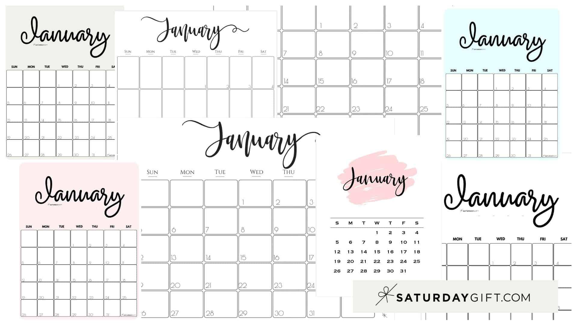 Cute (& Free!) Printable January 2021 Calendar   Saturdaygift