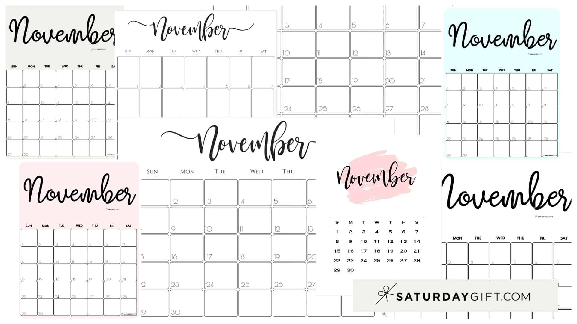 Cute (& Free!) Printable November 2021 Calendar | Saturdaygift