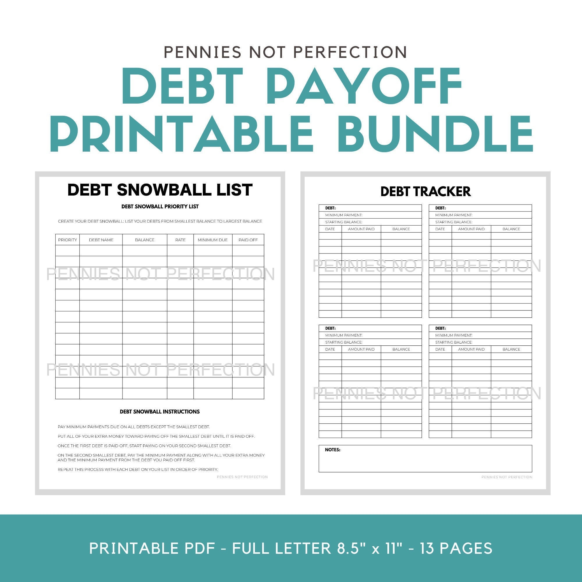Debt Payoff Planner Bundle Printable Bundle | Debt Snowball & Debt  Avalanche Worksheets