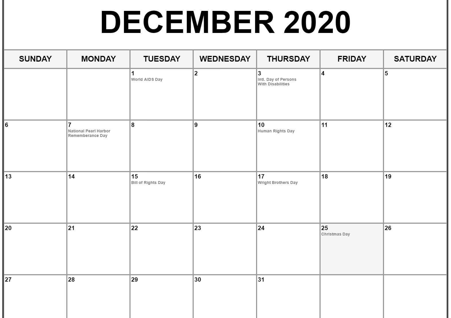 December 2020 Calendar Us Holidays   December Calendar