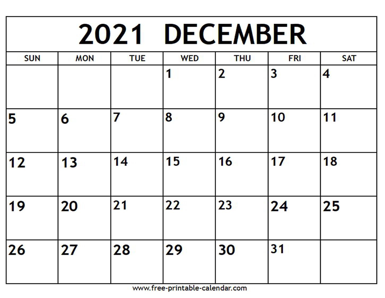 December 2021 Calendar - Free-Printable-Calendar