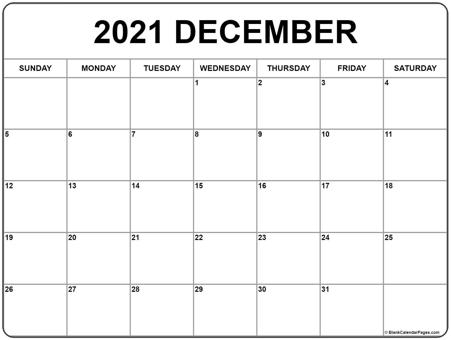 December 2021 Calendar   Free Printable Monthly Calendars